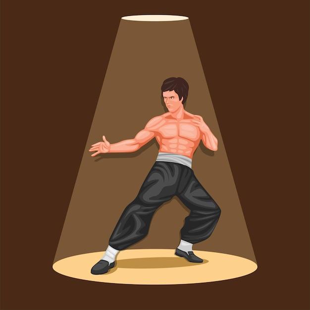 Martial art legend figure concept in cartoon Premium Vector