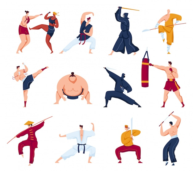 Martial arts  illustration set, cartoon  collection with active fighter characters, people in kimono training or fighting Premium Vector