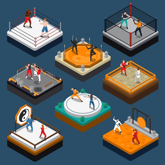 Martial arts isometric people composition Free Vector
