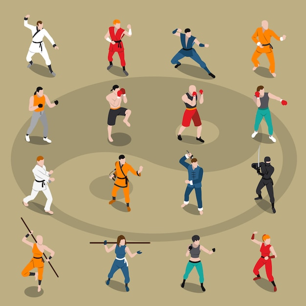 Martial arts isometric people set Free Vector