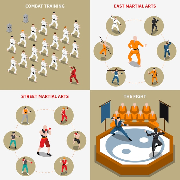 Martial arts people isometric 2x2 icons set Free Vector