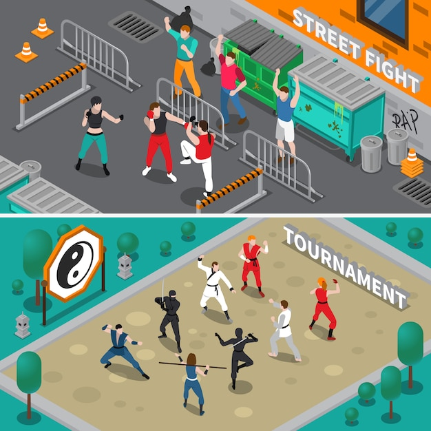 Martial arts people isometric banners Free Vector