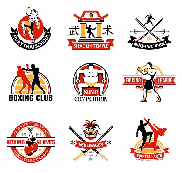 Martial clubs colorful emblems Free Vector