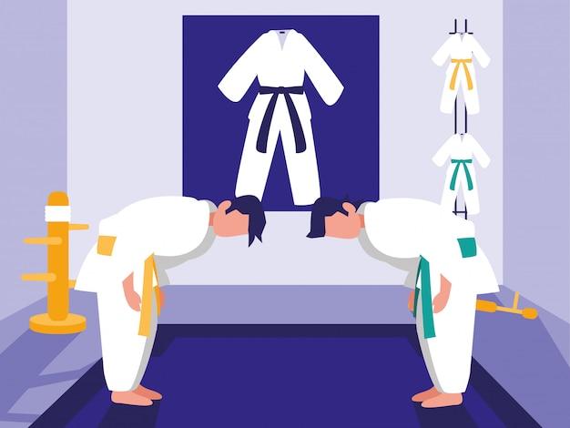 Martials arts dojo scene Premium Vector