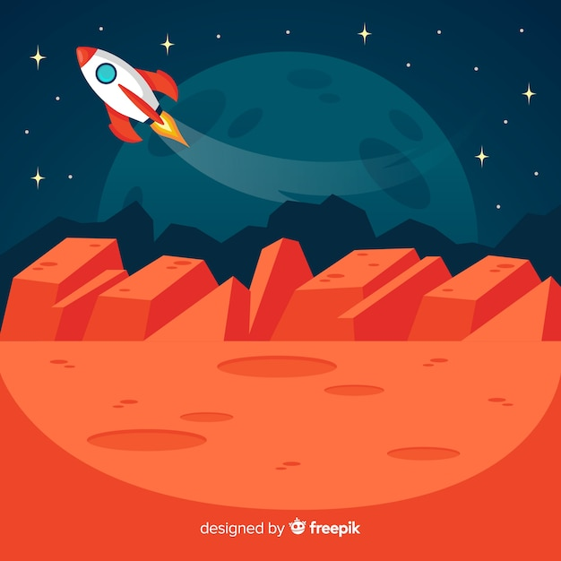 Martian landscape with spacecraft Free Vector