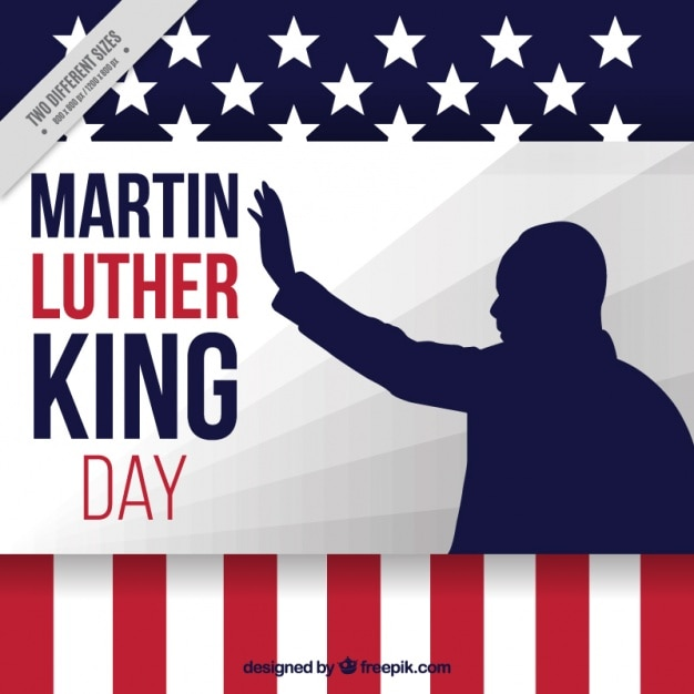 Martin Luther King Day Background With Silhouette Vector Premium