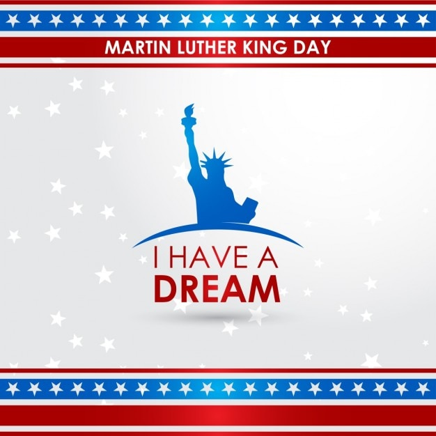Martin luther king jr. day, background with stars Free Vector