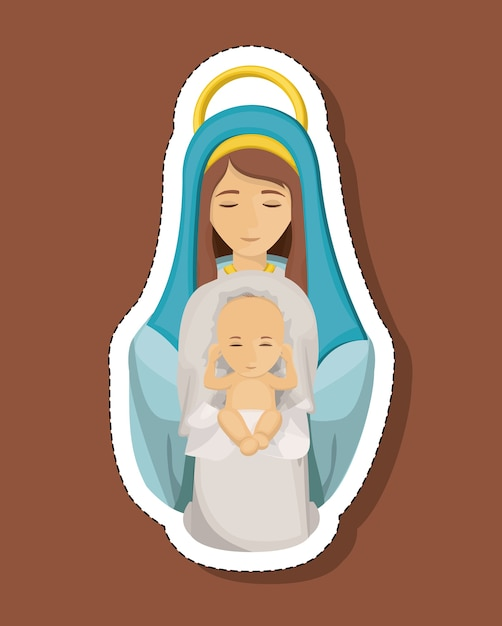 Mary cartoon with baby jesus icon vector premium download mary cartoon with baby jesus icon premium vector voltagebd Image collections