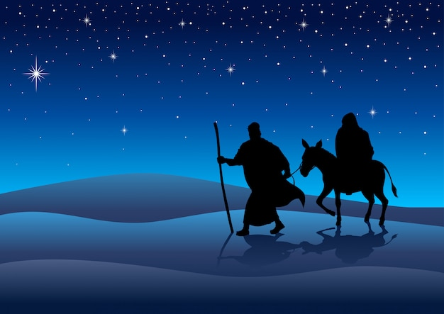 Mary and joseph, journey to bethlehem Premium Vector
