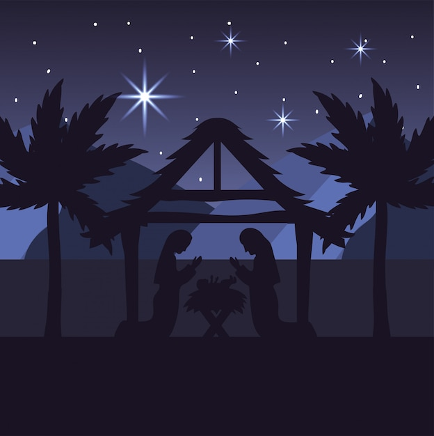 Mary and joseph with jesus in the manger and palm trees Premium Vector