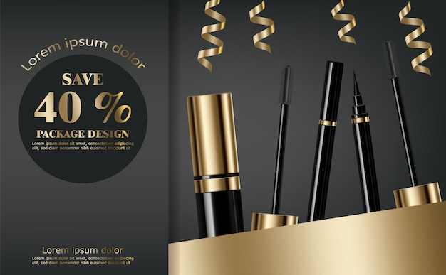 Mascara and eyeliner collection Premium Vector