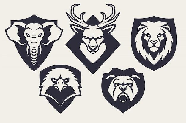 Набор талисманов животных эмблемы Premium векторы