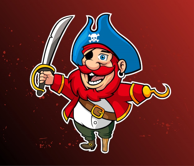 Mascot cartoon funny pirates. vector illustration Premium Vector