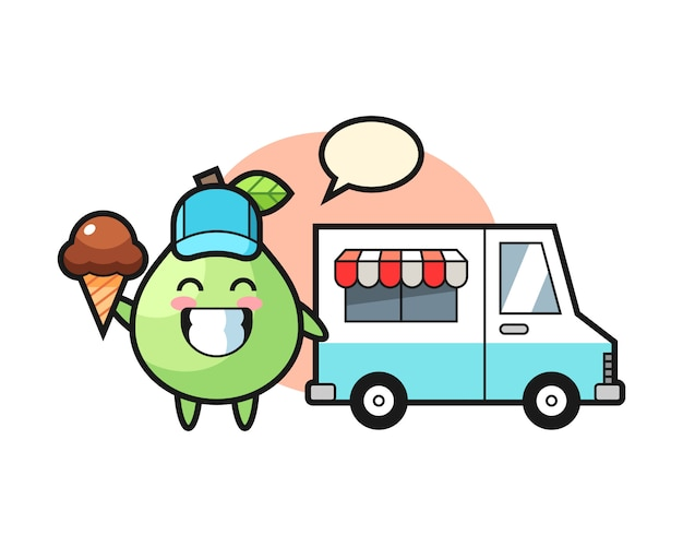 Mascot cartoon of guava with ice cream truck, cute style design for t shirt, sticker, logo element Premium Vector