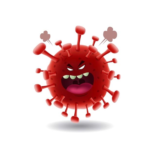 マスコット漫画illustration_angry赤いcovid-19コロナvirus_isolated Premiumベクター