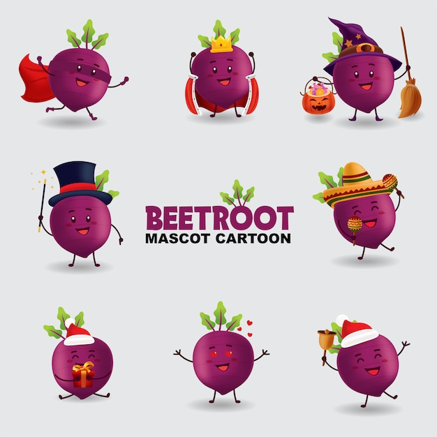 Mascot cartoon illustration. beetroot in several pose. isolated background. Premium Vector