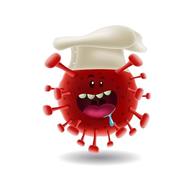 マスコット漫画illustration_chef赤covid-19コロナvirus_isolated Premiumベクター
