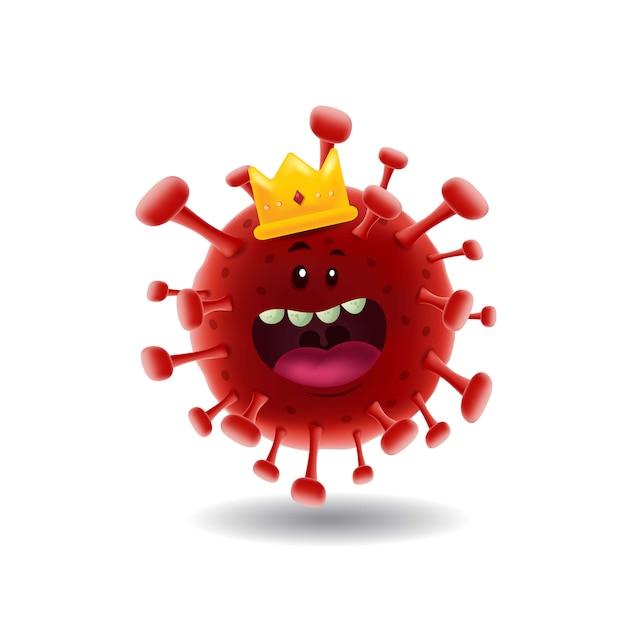 マスコット漫画illustration_king of red covid-19 corona virus_isolated Premiumベクター