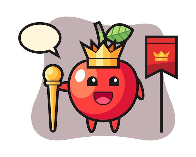 王様の桜のマスコット漫画、かわいいスタイルのデザイン Premiumベクター