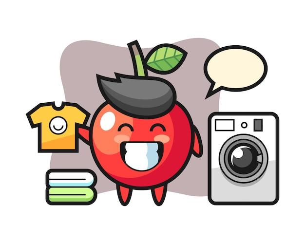 洗濯機、かわいいスタイルのデザインとチェリーのマスコット漫画 Premiumベクター