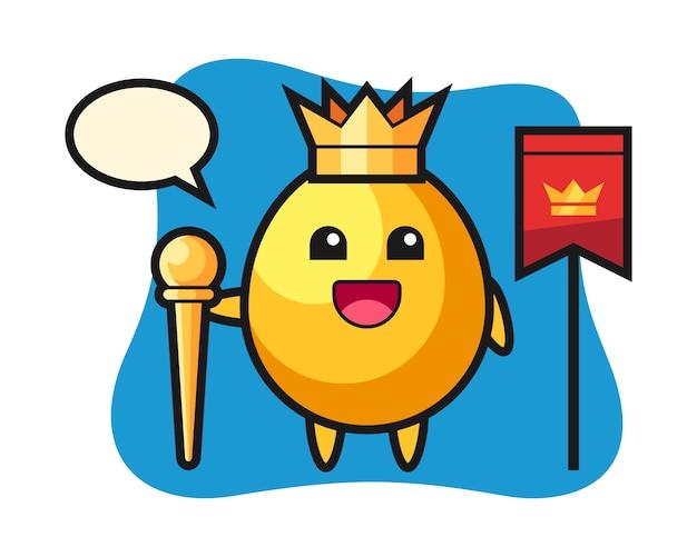 王様、かわいいスタイルのデザインとして黄金の卵のマスコット漫画 Premiumベクター