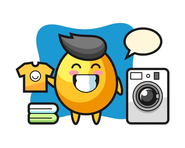 洗濯機、かわいいスタイルのデザインと黄金の卵のマスコット漫画 Premiumベクター