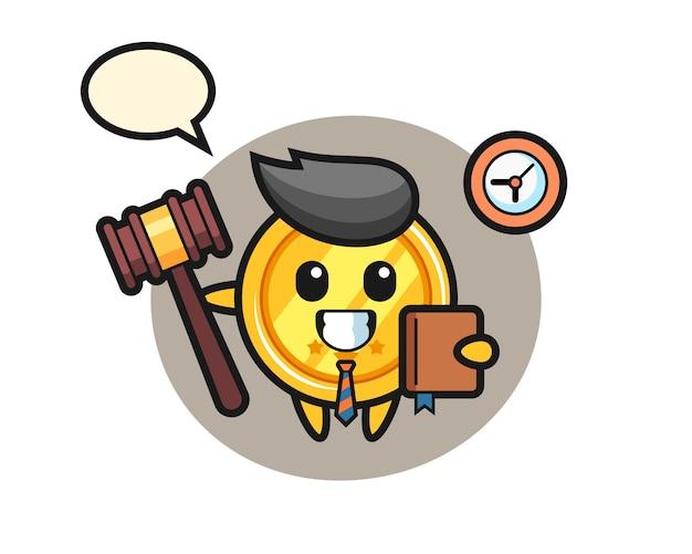 판사로 메달의 마스코트 만화 프리미엄 벡터