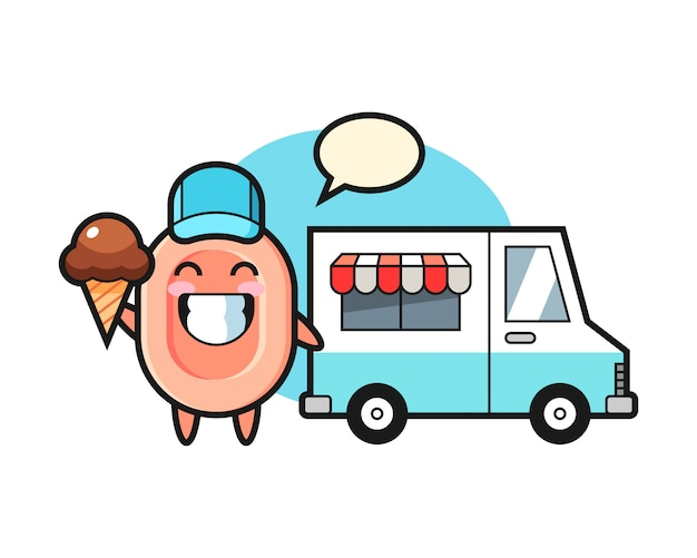 Mascot cartoon of soap with ice cream truck, cute style  for t shirt, sticker, logo element Premium Vector