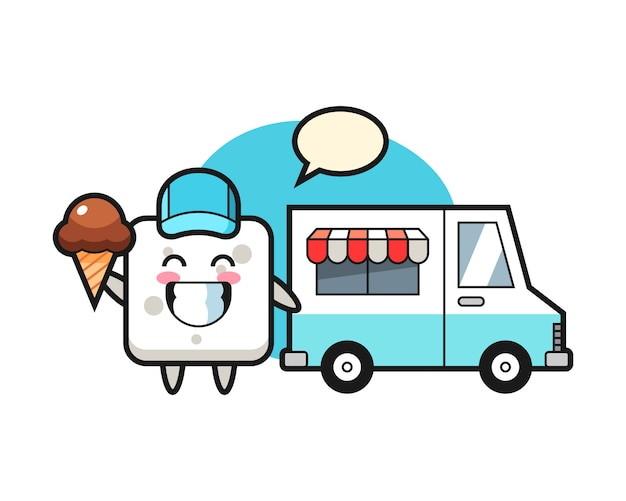 Mascot cartoon of sugar cube with ice cream truck, cute style  for t shirt, sticker, logo element Premium Vector
