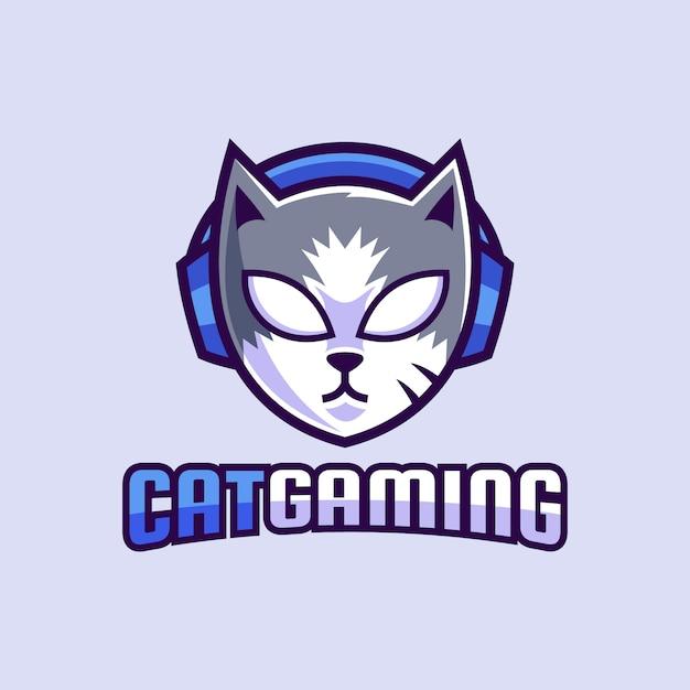 マスコット猫ゲーミング摩耗ヘッドフォンのロゴデザイン Premiumベクター