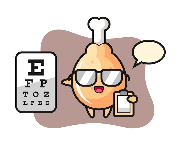 Mascot of fried chicken mascot as a ophthalmology Premium Vector
