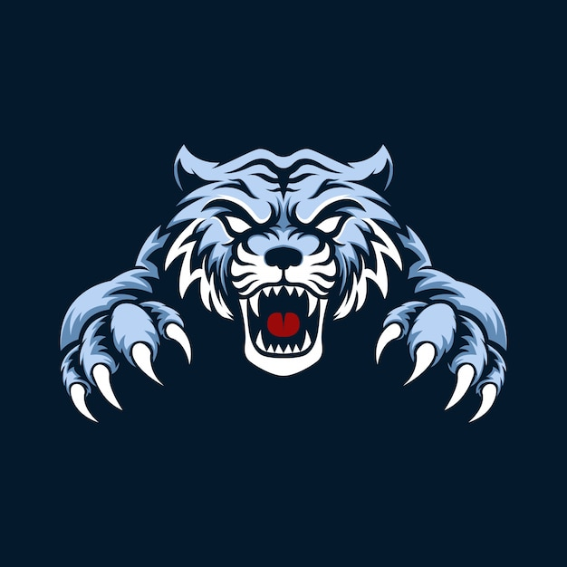 Mascot logo blue tiger with background Premium Vector