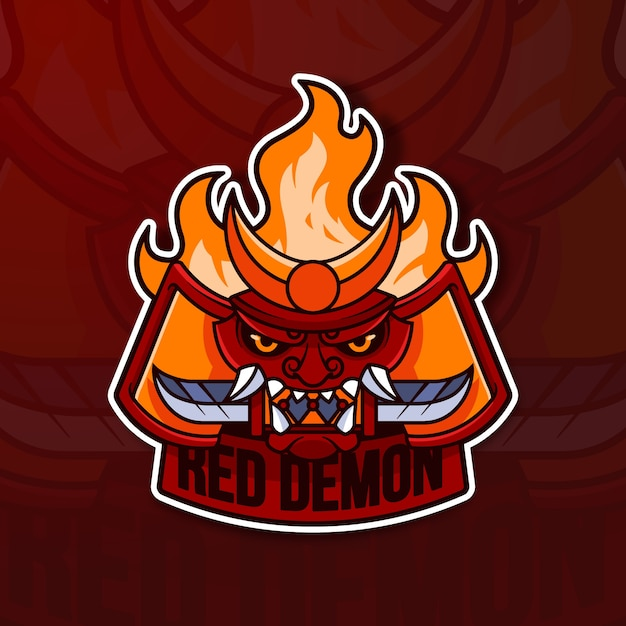 Mascot logo concept with red demon Free Vector