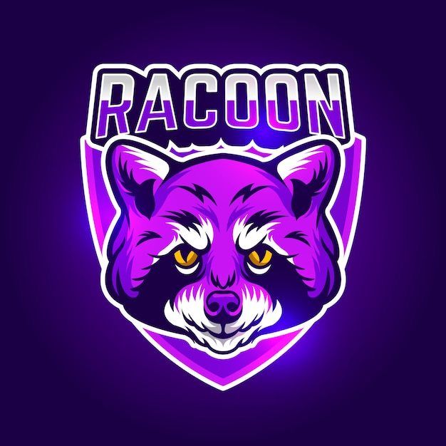 Mascot logo design with racoon Free Vector