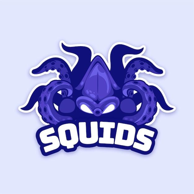 Mascot logo design with squid Premium Vector