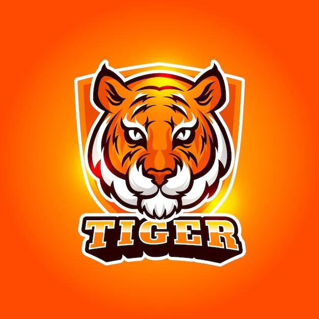 Mascot logo design with tiger Free Vector