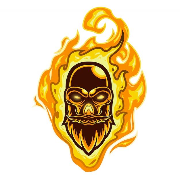 Mascot logo fire skull head Premium Vector