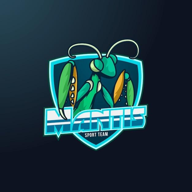 Mascot logo mantis Premium Vector
