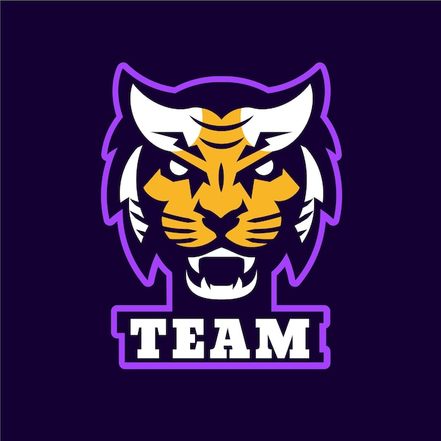 Mascot logo with tiger Premium Vector