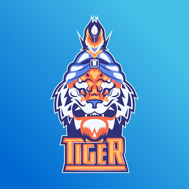 Mascot logo with tiger Free Vector
