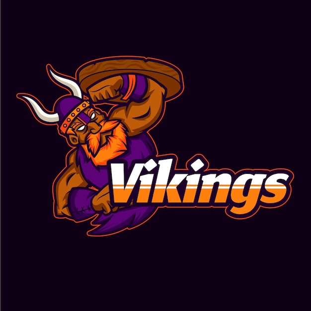 Mascot logo with viking Free Vector