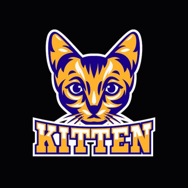 Mascot logo with with kitten Premium Vector