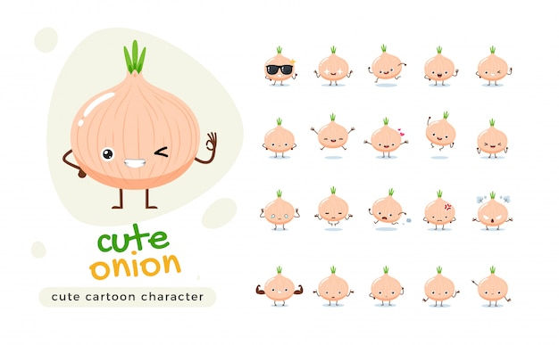 A mascot set of the onion. isolated   illustration Premium Vector
