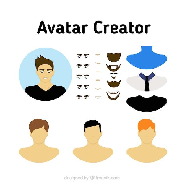 Masculine Avatar Creator Set Vector Free Download