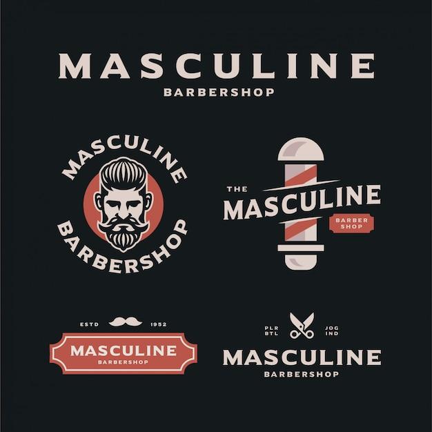 男性的な理髪店のロゴのテンプレートコレクション Premiumベクター
