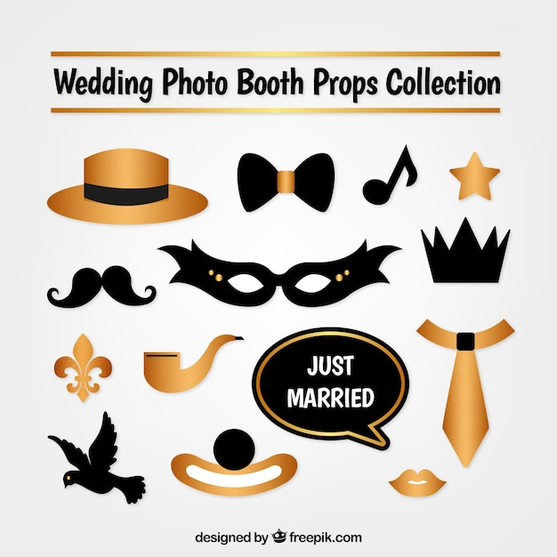 mask collection and golden photo booth vector free download