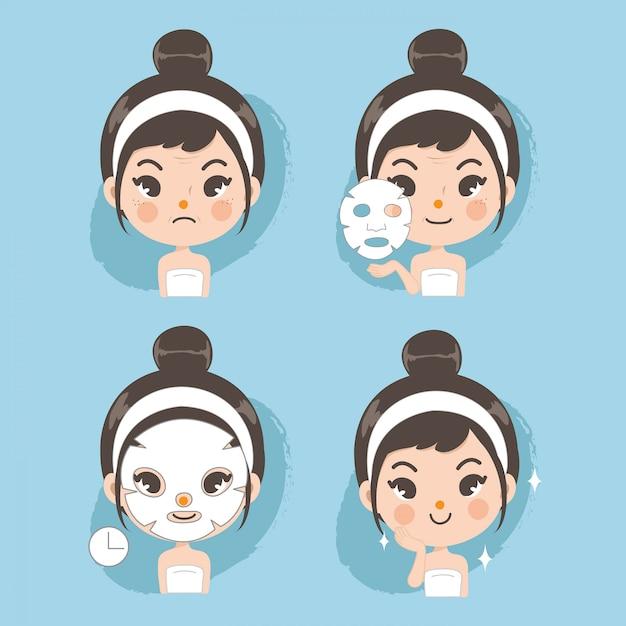 Mask face treatment cute for beauty. Premium Vector