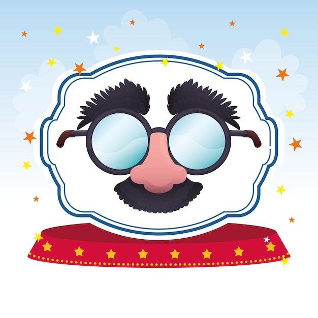Mask glasses fun image Premium Vector