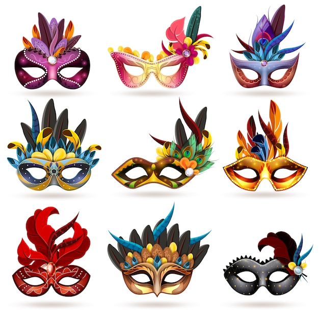 Mask icons set Free Vector
