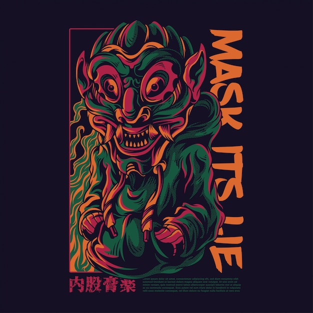 Mask its lie illustration Premium Vector